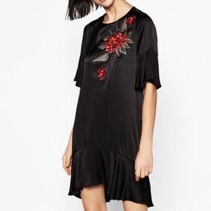Zara Black Satin 3D Rose Embroidered Dress SZ XS